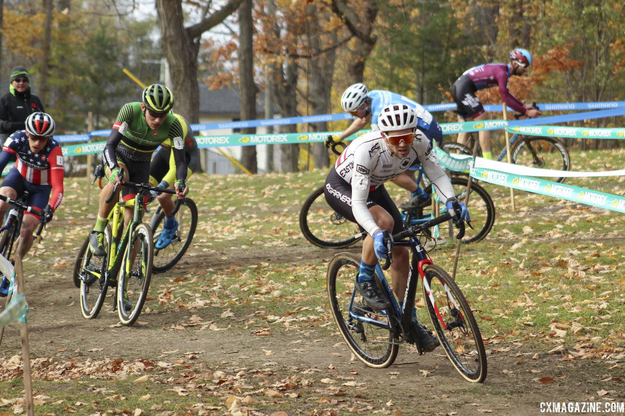 One by one, riders started to pop off the group. 2018 Pan-American Cyclocross Championships, Midland, Ontario. © Z. Schuster / Cyclocross Magazine