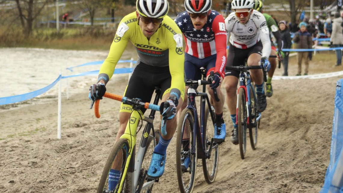 The lead group dropped to four midway through the race. 2018 Pan-American Cyclocross Championships, Midland, Ontario. © Z. Schuster / Cyclocross Magazine