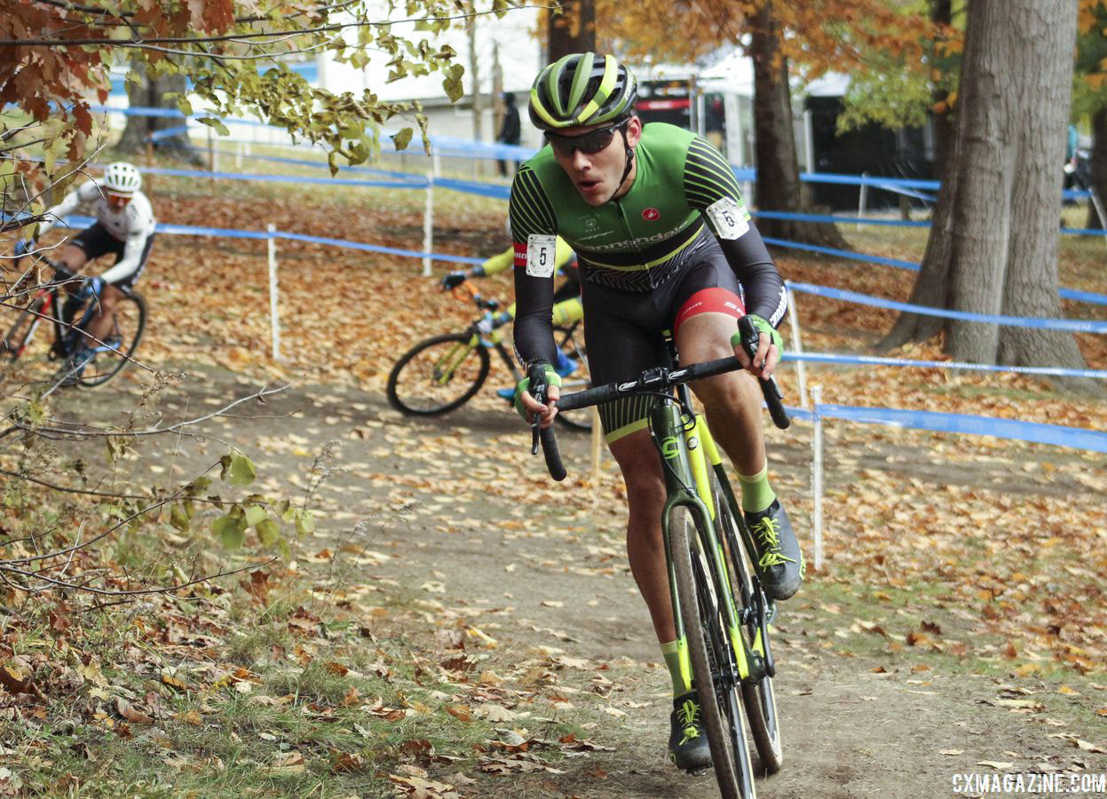 Curtis White made his move after Hyde crashed at the stairs. 2018 Pan-American Cyclocross Championships, Midland, Ontario. © Z. Schuster / Cyclocross Magazine