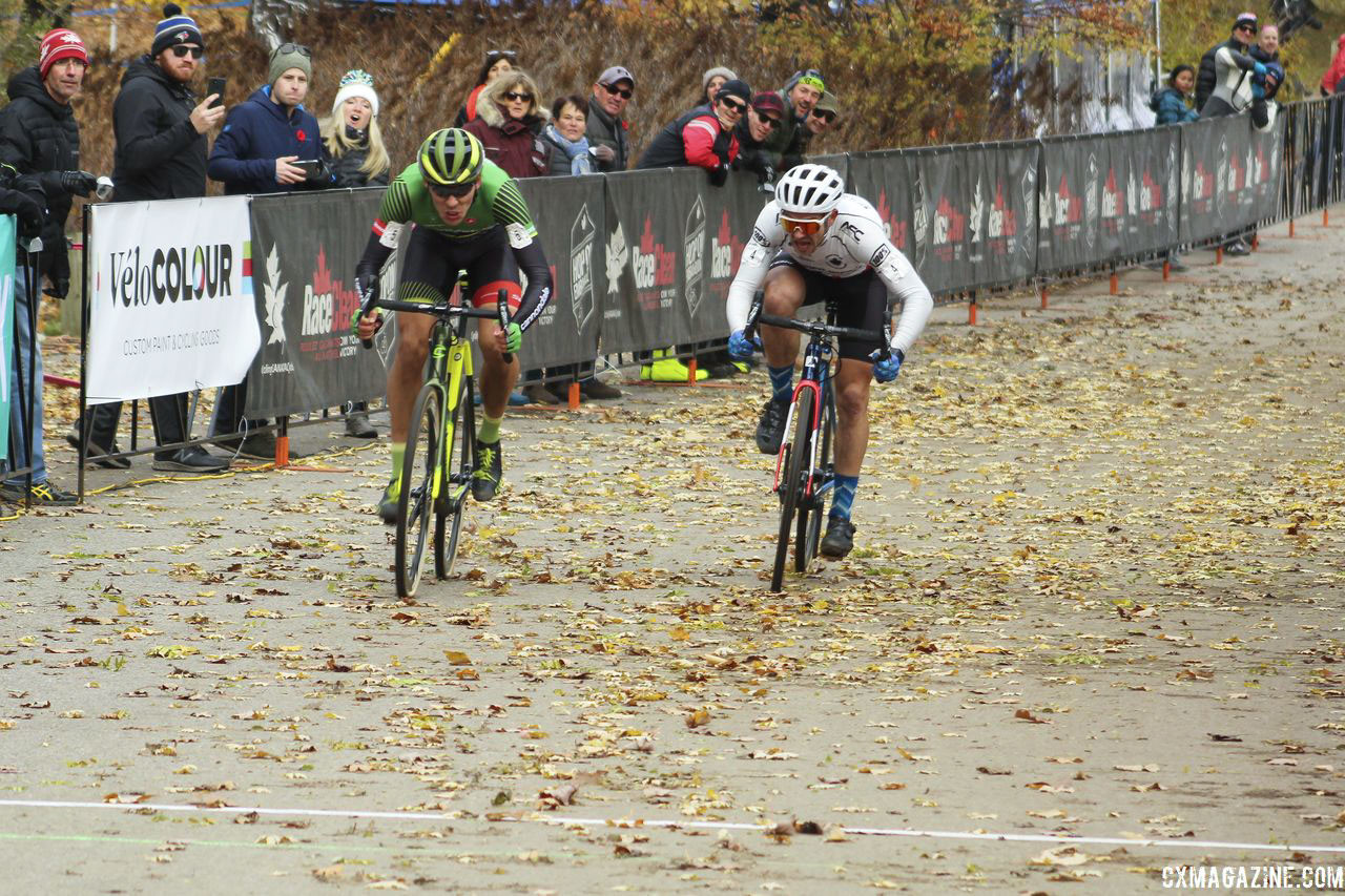White edged Van den Ham in the sprint. 2018 Pan-American Cyclocross Championships, Midland, Ontario. © Z. Schuster / Cyclocross Magazine