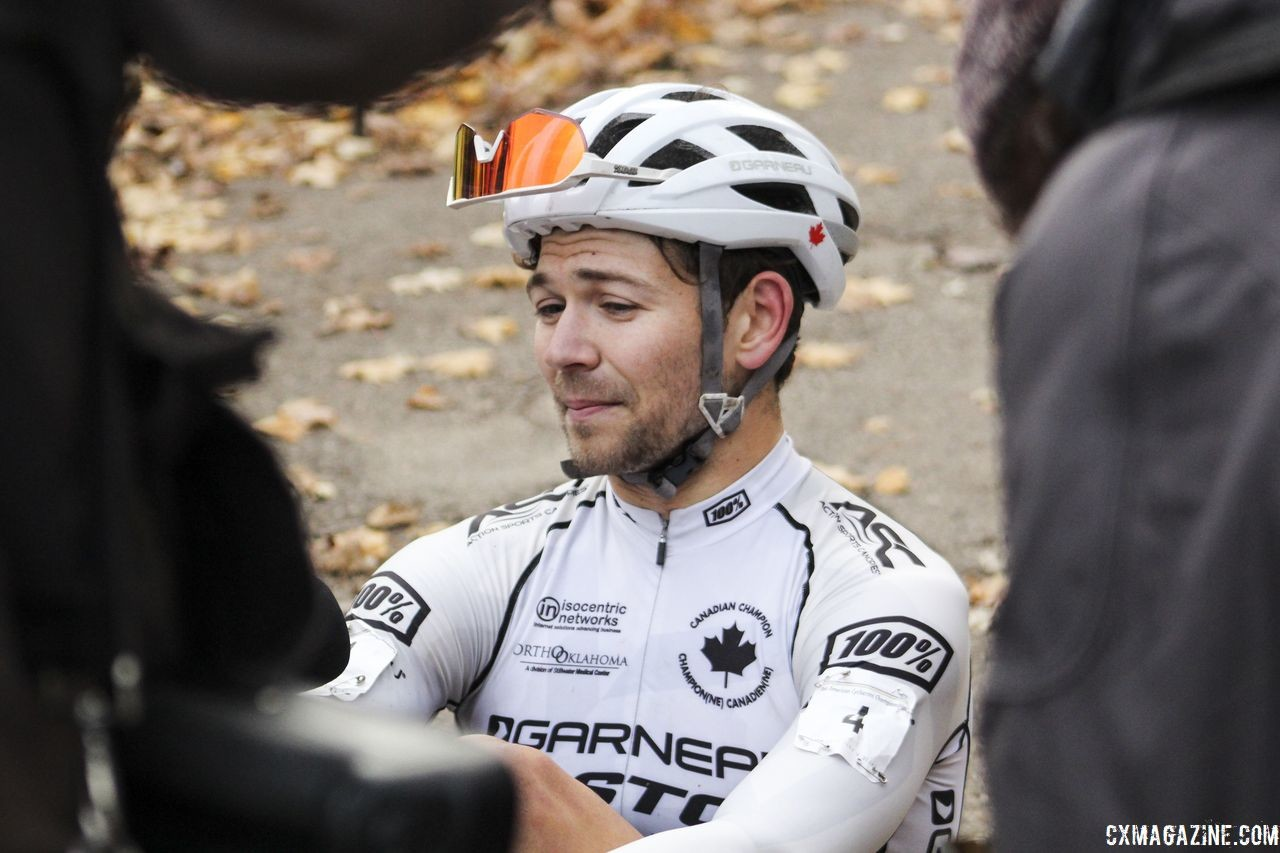 Michael van den Ham talks to reporters after his race. 2018 Pan-American Cyclocross Championships, Midland, Ontario. © Z. Schuster / Cyclocross Magazine