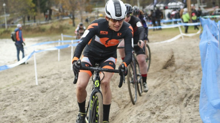 Corey Coogan Cisek will be flying the colors of the Amy D. Foundation in Europe this year. 2018 Pan-American Cyclocross Championships, Midland, Ontario. © Z. Schuster / Cyclocross Magazine