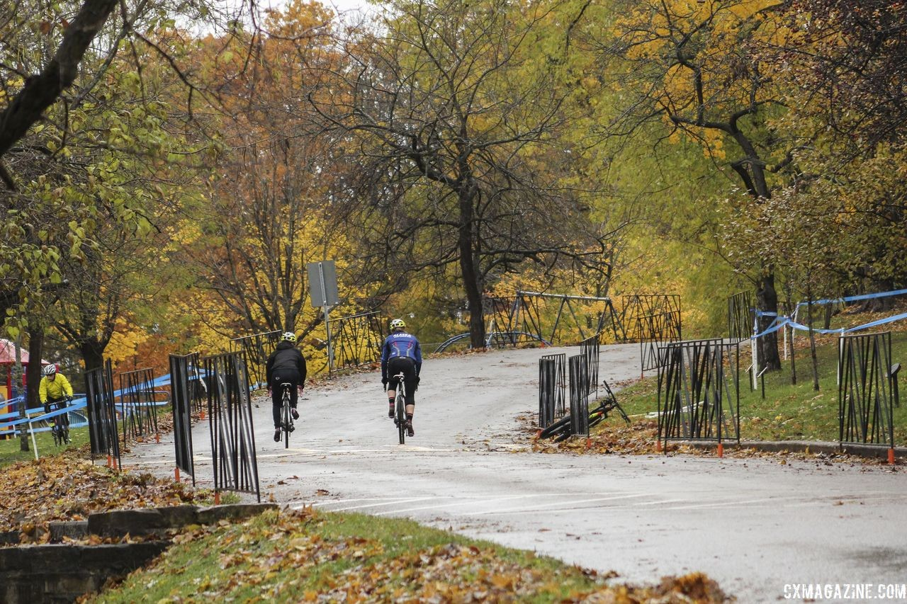The course features a relatively long uphill start. 2018 Silver Goose CX Course Inspection, Friday. © Z. Schuster / Cyclocross Magazine