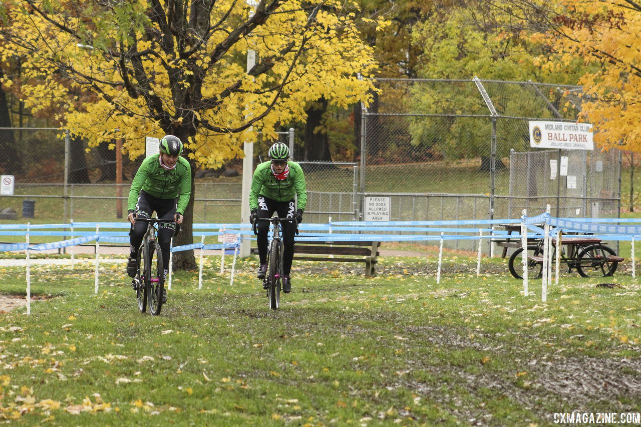 The first section of the course in near a baseball field. 2018 Silver Goose CX Course Inspection, Friday. © Z. Schuster / Cyclocross Magazine