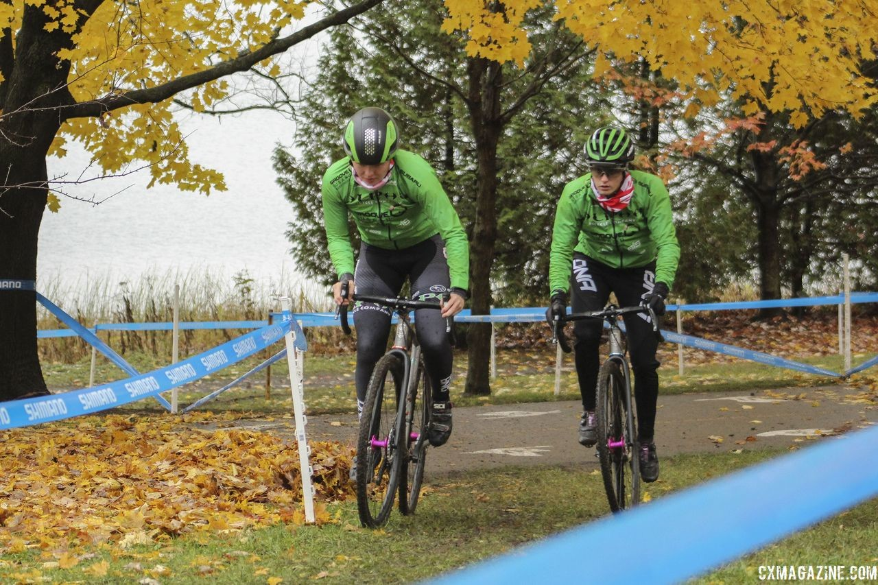 The opening of the course before the first trip through the sand is twisty and punchy in spots. 2018 Silver Goose CX Course Inspection, Friday. © Z. Schuster / Cyclocross Magazine