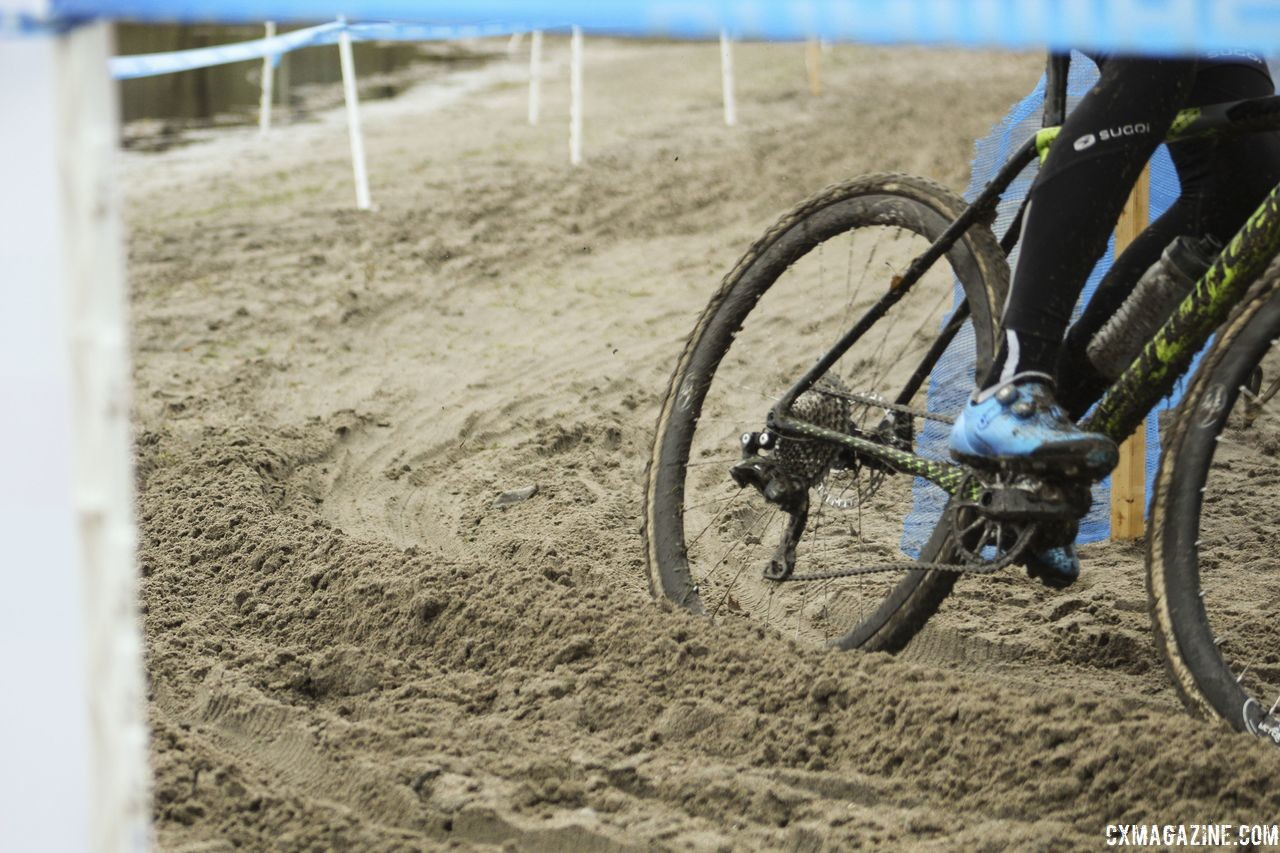 With the rain Midland has gotten, the sand is pretty packed down and clear ruts are forming at turns. 2018 Silver Goose CX Course Inspection, Friday. © Z. Schuster / Cyclocross Magazine