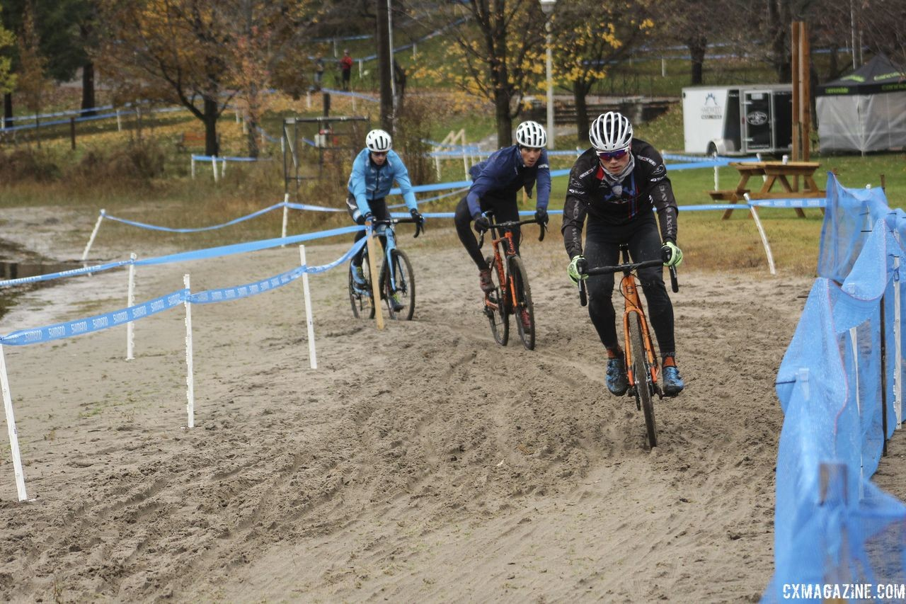 The course features several trips through the sand. This is the first. 2018 Silver Goose CX Course Inspection, Friday. © Z. Schuster / Cyclocross Magazine