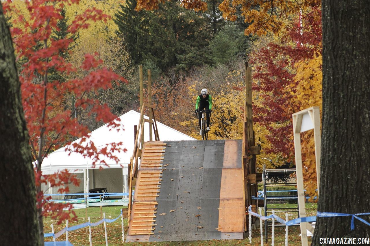 The course features a flyover, which is new this year. 2018 Silver Goose CX Course Inspection, Friday. © Z. Schuster / Cyclocross Magazine