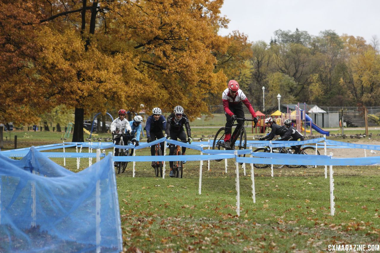 It never hurts to get a little sendy during pre-ride. 2018 Silver Goose CX Course Inspection, Friday. © Z. Schuster / Cyclocross Magazine