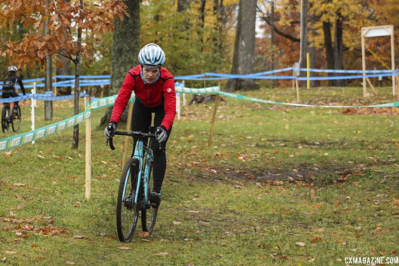 With the north part of the course elevated, there are several descents of varying length and steepness. 2018 Silver Goose CX Course Inspection, Friday. © Z. Schuster / Cyclocross Magazine