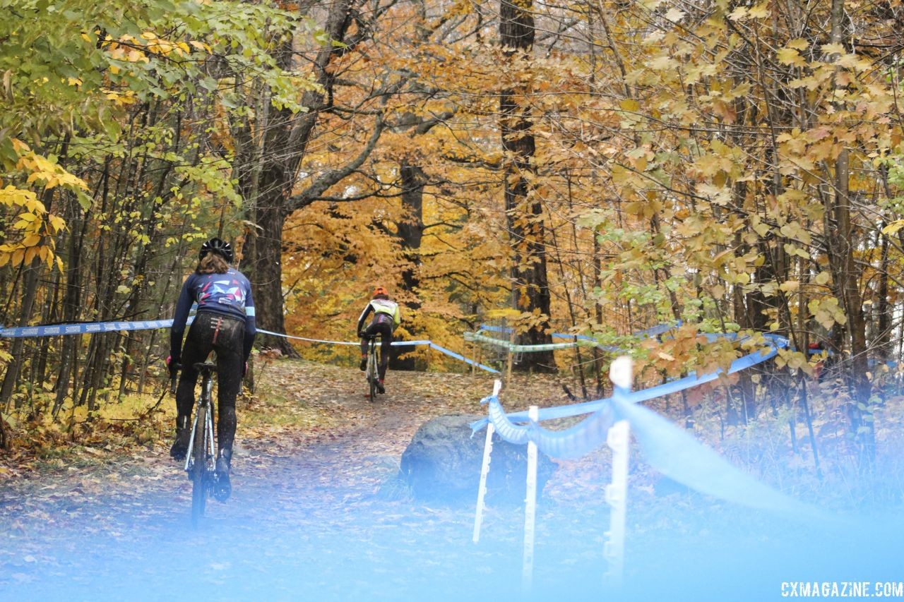 There are several climbs on the course thanks to the high ground on the northern side of the layout. 2018 Silver Goose CX Course Inspection, Friday. © Z. Schuster / Cyclocross Magazine