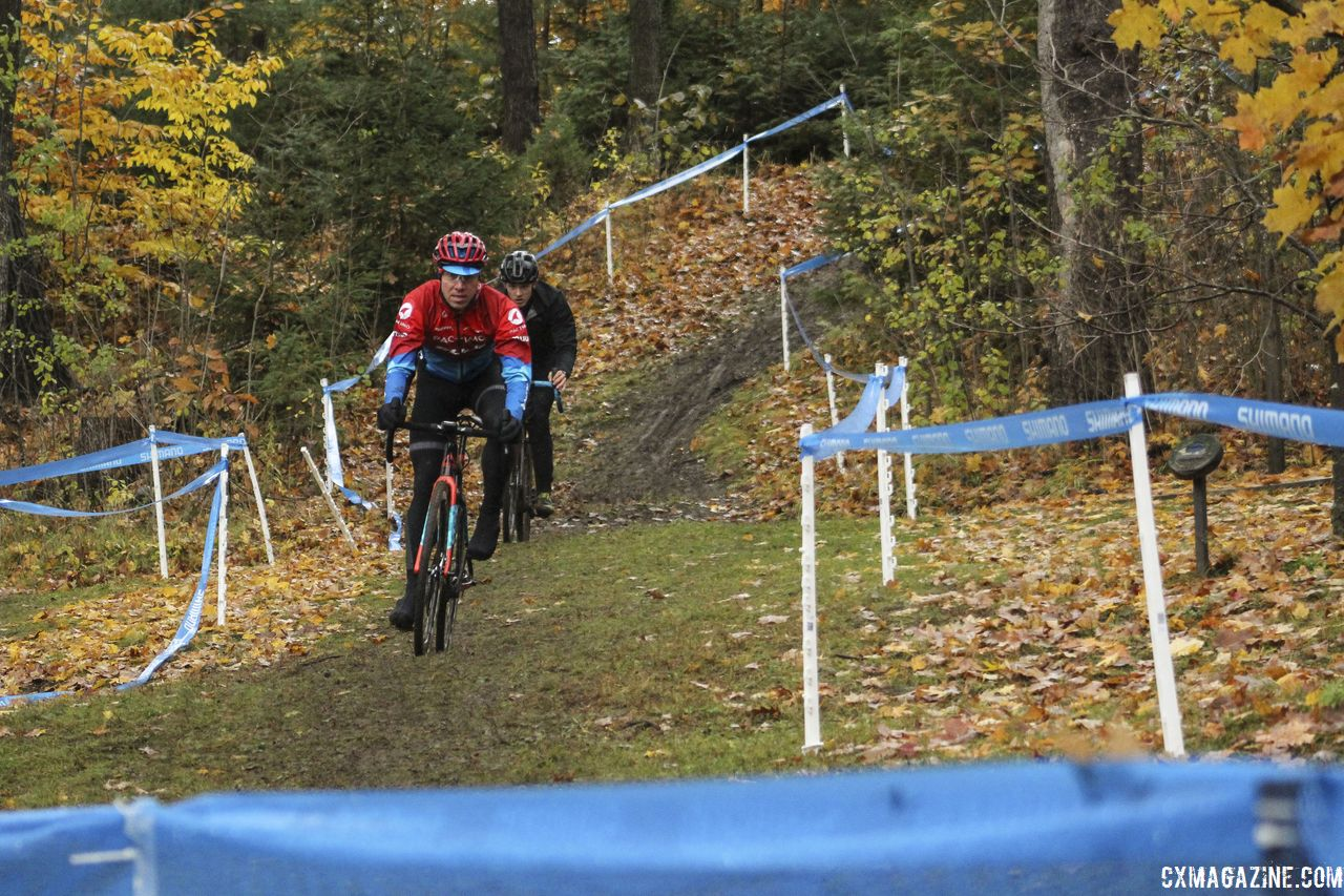 When there's snow fencing, you know it's a steep descent. 2018 Silver Goose CX Course Inspection, Friday. © Z. Schuster / Cyclocross Magazine