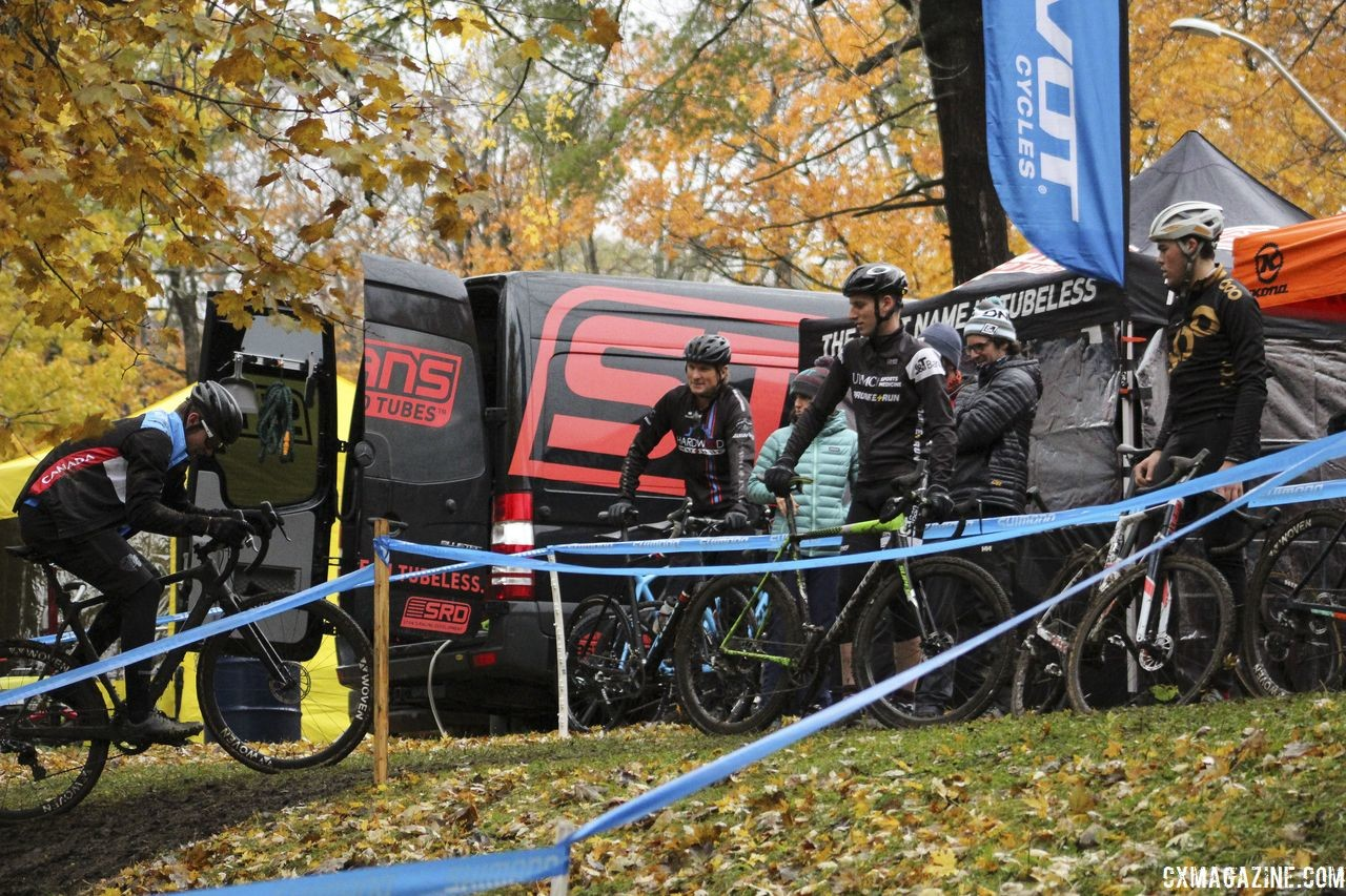 Every course seems to have the section that draws a crowd during pre-ride. 2018 Silver Goose CX Course Inspection, Friday. © Z. Schuster / Cyclocross Magazine