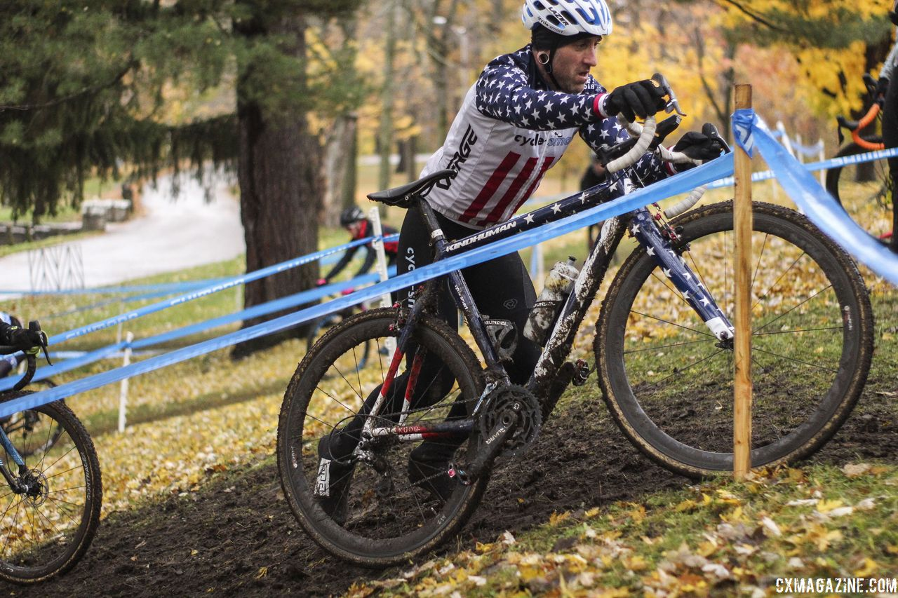 Some riders opted to run the steep incline. 2018 Silver Goose CX Course Inspection, Friday. © Z. Schuster / Cyclocross Magazine