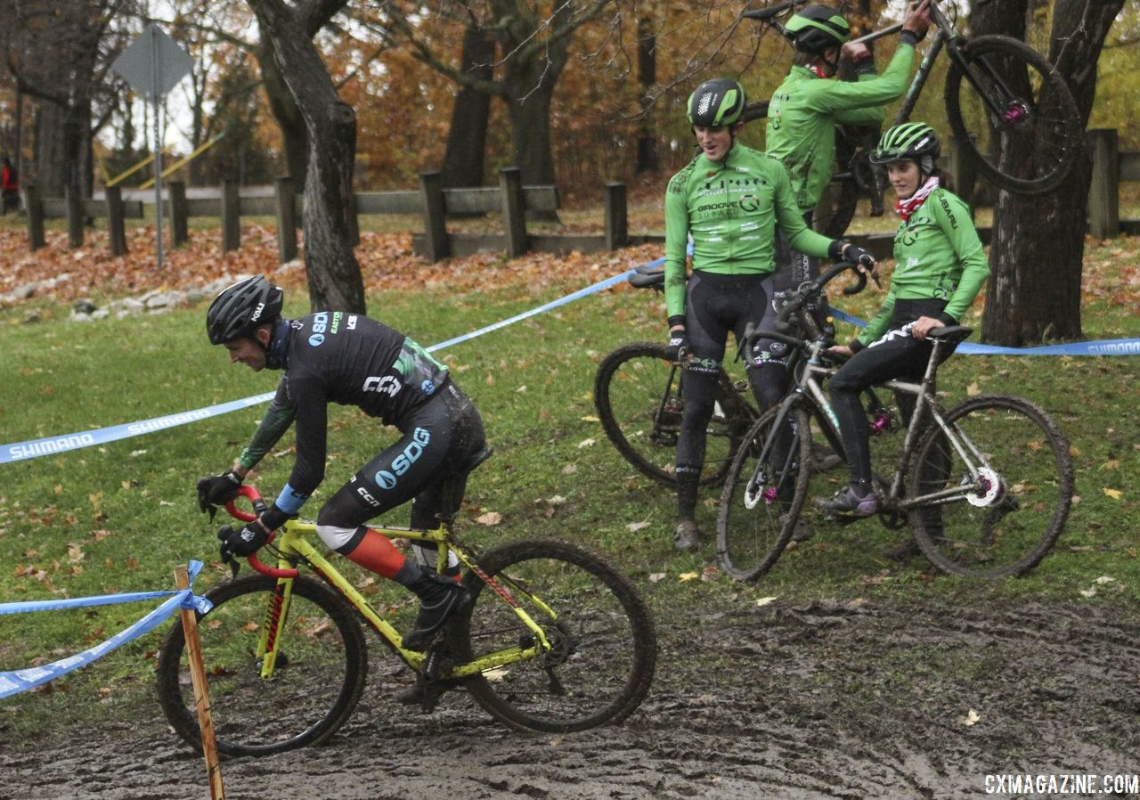The Alpha Bicycle - Groove Subaru team gathered to watch riders tackle the mud pit. 2018 Silver Goose CX Course Inspection, Friday. © Z. Schuster / Cyclocross Magazine