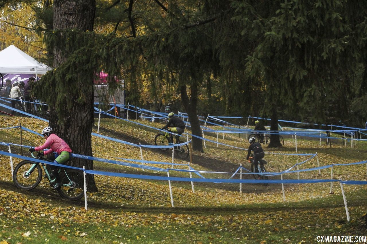 This is one of the more technical parts of the course, as riders wind up and down a small embankment. 2018 Silver Goose CX Course Inspection, Friday. © Z. Schuster / Cyclocross Magazine
