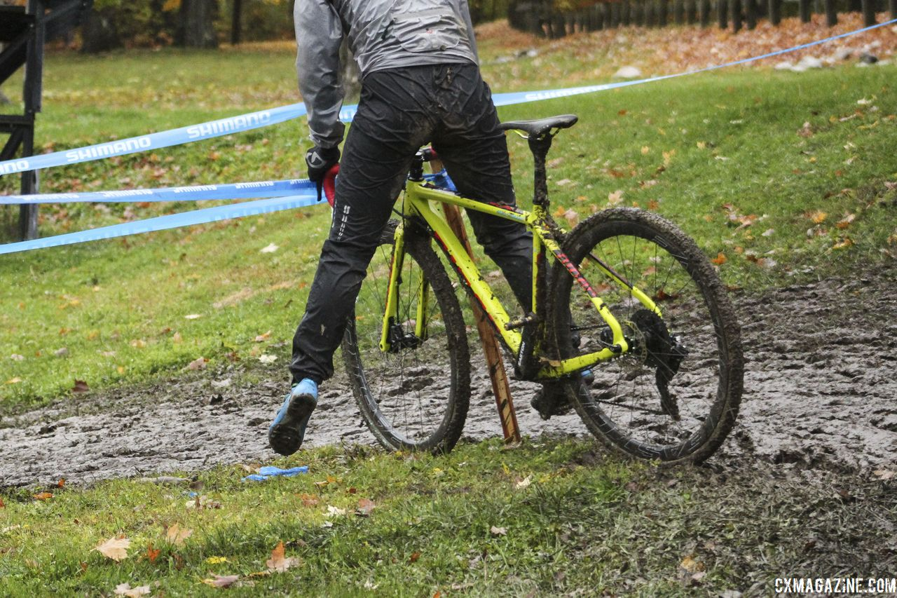 This unnamed rider had a run-in with the course stake after taking the inside line. 2018 Silver Goose CX Course Inspection, Friday. © Z. Schuster / Cyclocross Magazine