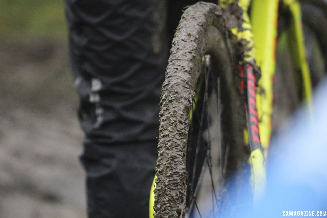 Amanda Nauman's tires show the mud that accumulated. 2018 Silver Goose CX Course Inspection, Friday. © Z. Schuster / Cyclocross Magazine