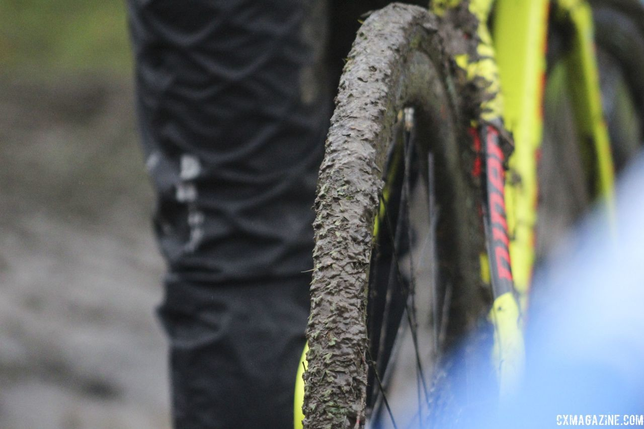 Amanda Nauman's tires got pretty muddy at Friday's course inspection. 2018 Silver Goose CX Course Inspection, Friday. © Z. Schuster / Cyclocross Magazine