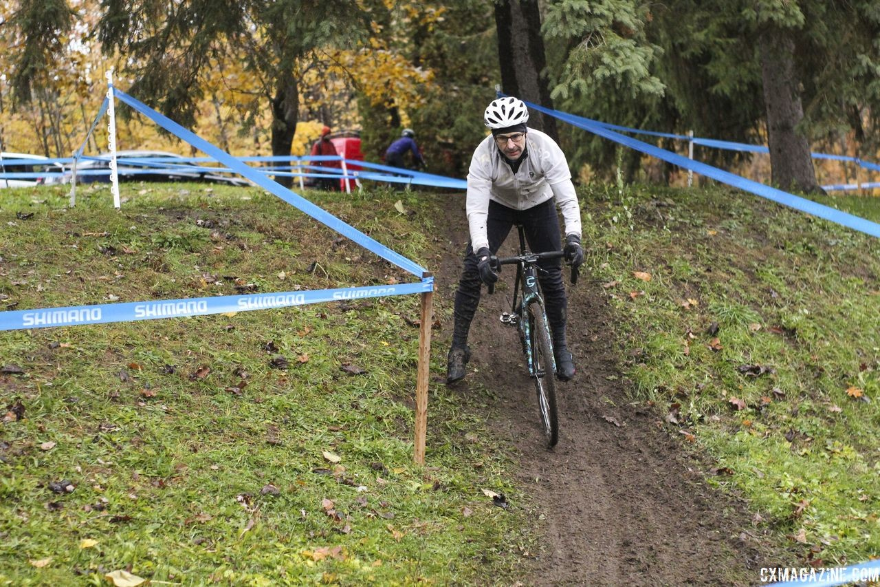 2018 Silver One of the smaller descents is a steep drop into an off-camber. 2018 Silver Goose CX Course Inspection, Friday. © Z. Schuster / Cyclocross MagazineCX Course Inspection, Friday. © Z. Schuster / Cyclocross Magazine