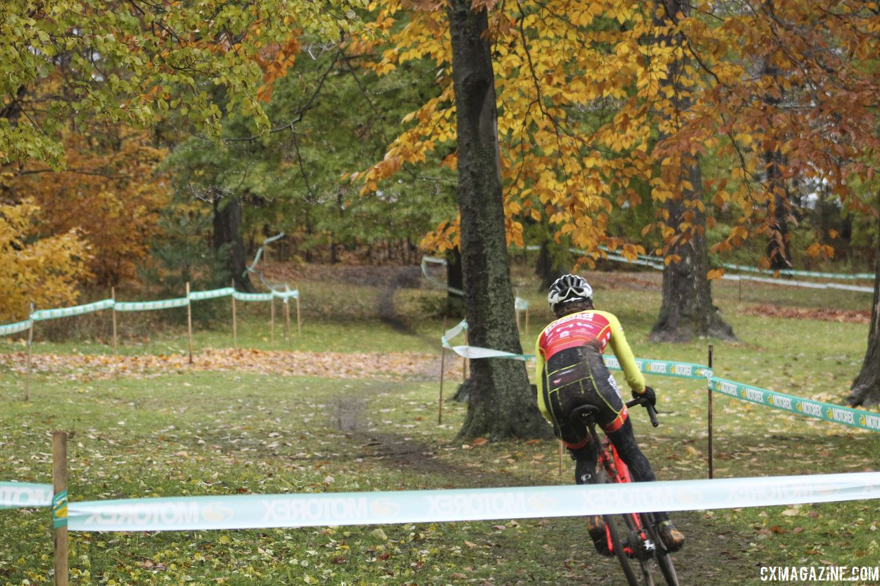 The course features some longer, less steep climbs in addition to some steep sections. 2018 Silver Goose CX Course Inspection, Friday. © Z. Schuster / Cyclocross Magazine