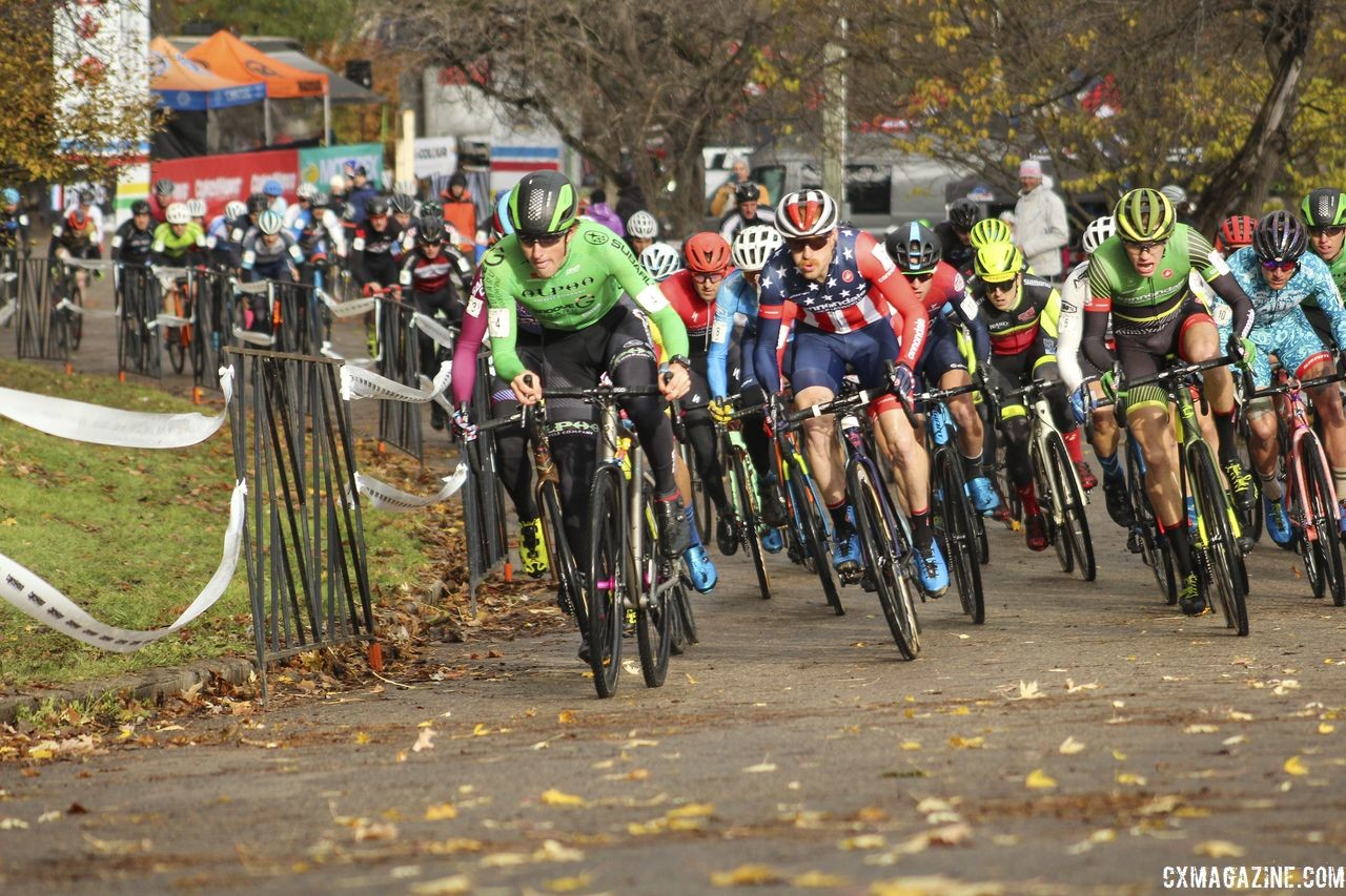 Gage Hecht leads out the holeshot. 2018 Silver Goose Cyclocross UCI C2 © Z. Schuster / Cyclocross Magazine