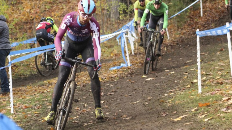 Tobin OrtenbTobin Ortenblad led a large group early in the race. 2018 Silver Goose Cyclocross UCI C2 © Z. Schuster / Cyclocross Magazine