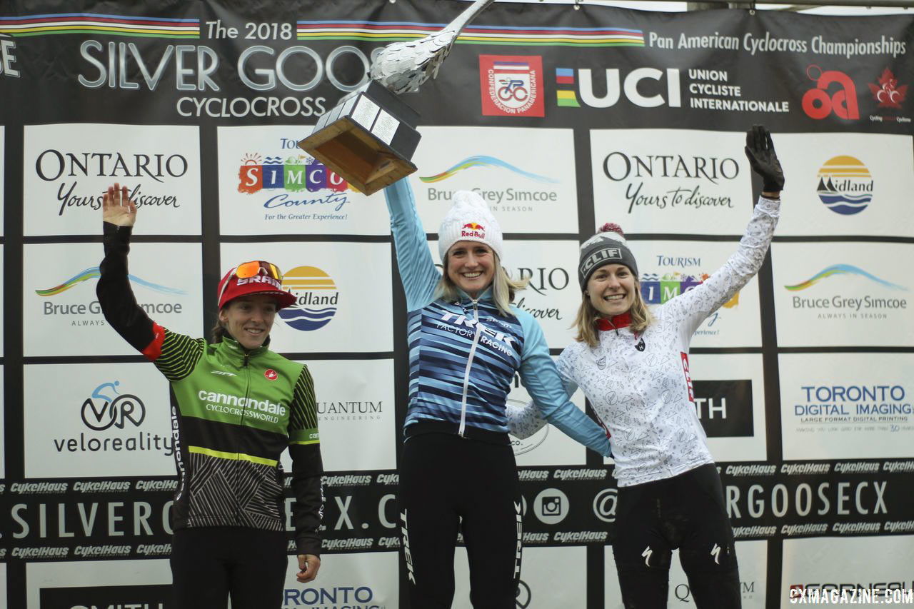 Women's podium: Ellen Noble, Kaitie Keough and Maghalie Rochette. 2018 Silver Goose Cyclocross UCI C2 © Z. Schuster / Cyclocross Magazine