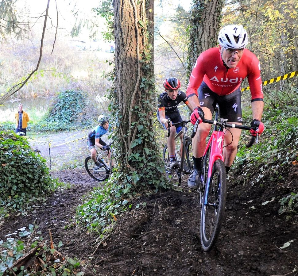 The course included a climb through the forest. 2018 MFG Cyclocross No. 5. © Gary Crofoot