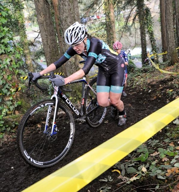 Stephanie Taplin took third. 2018 MFG Cyclocross No. 5. © Gary Crofoot