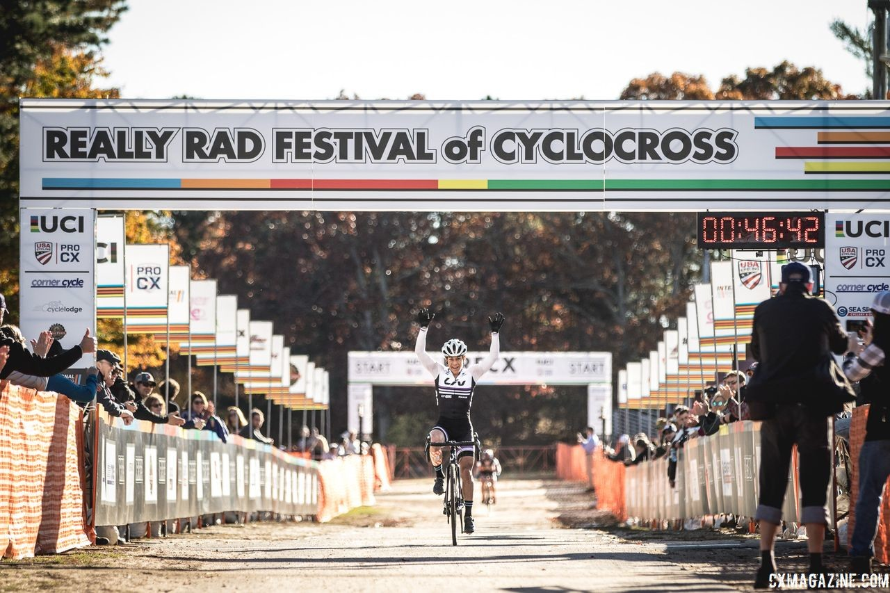 Crystal Anthony celebrates her win. 2018 Really Rad Festival of Cyclocross Day 2. © Angelica Dixon
