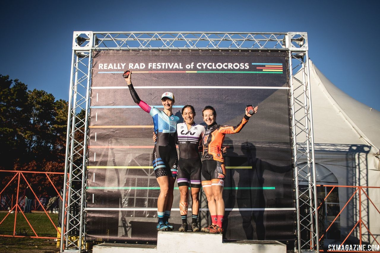 Women's podium: Crystal Anthony, Arley Kemmerer and Cassie Maximenko. 2018 Really Rad Festival of Cyclocross Day 2. © Angelica Dixon