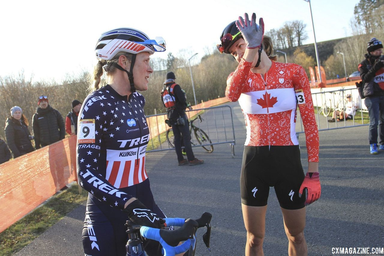 Maghalie Rochette has a new Canadian National Champion's kit to wear. 2018 Tabor UCI Cyclocross World Cup, Elite Men. © Bart Hazen / Cyclocross Magazine