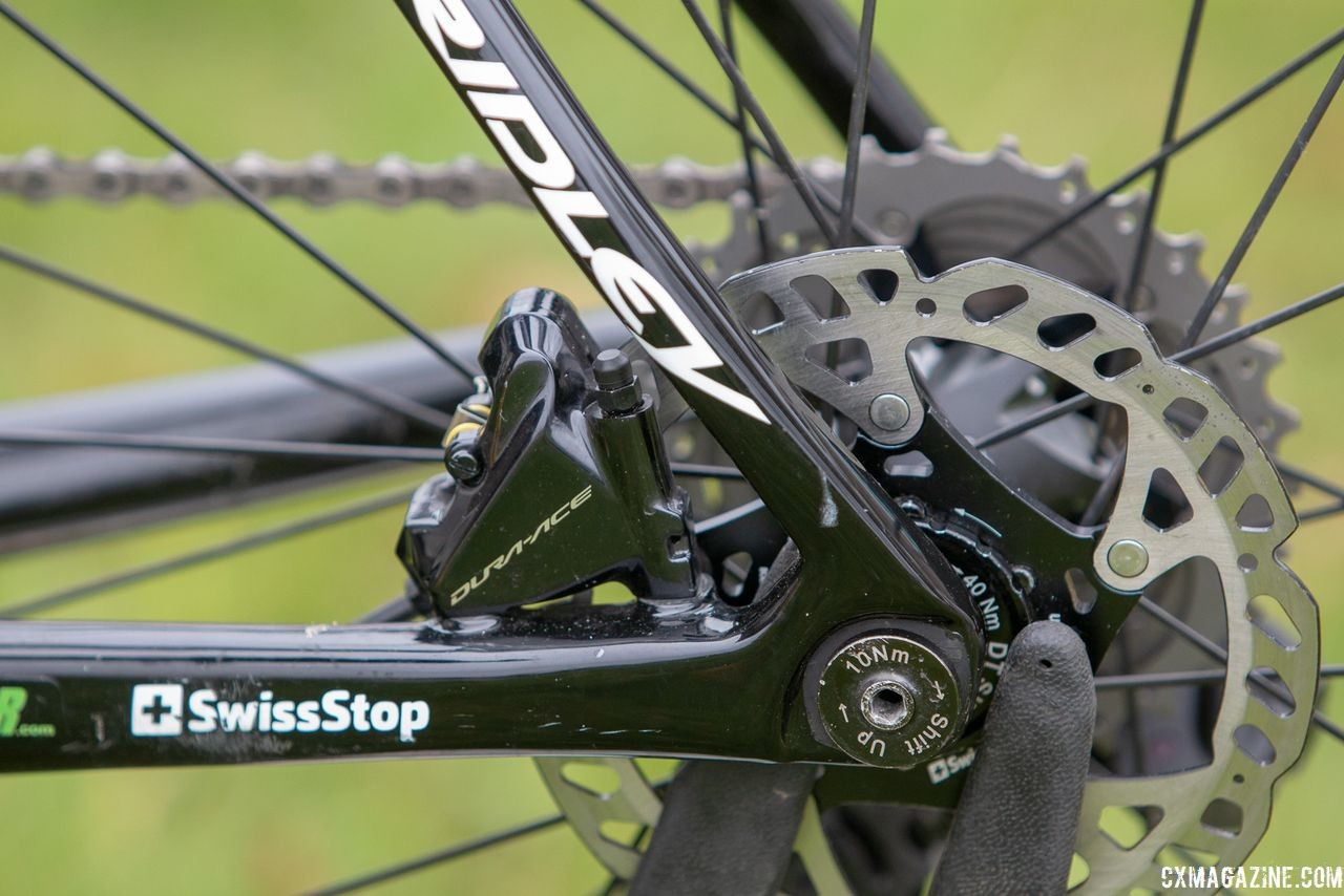 Swiss Stop is a team sponsor and supplies brake pads in place of Shimano's Ice-Tech finned pads. Eli Iserbyt's Ridley X-Night SL cyclocross bike. © A. Yee / Cyclocross Magazine