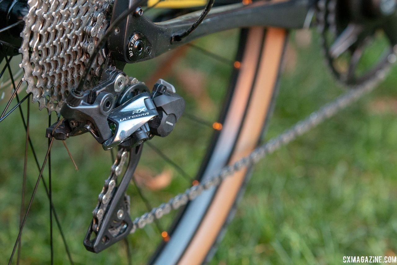 New for 2018, the Shimano RX800 derailleur features a clutch to prevent chain detensioning over rough terrain. 2019 Fuji Jari Carbon 1.1 Gravel bike. © Cyclocross Magazine