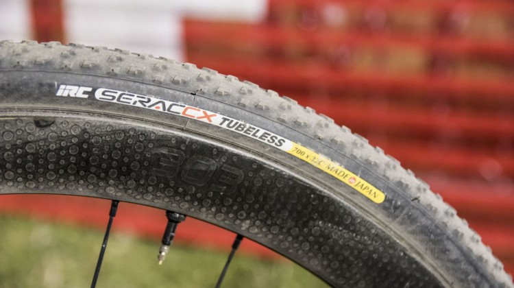 Sammi Runnels ran IRC Serac tubeless tires mounted to Zipp 303 Firecrest clinchers at RenoCross. © C. Lee / Cyclocross Magazine