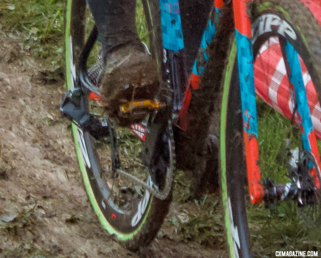 Jeremy Powers' Prototype SRAM Red eTAP 12-speed 1x drivetrain as seen at Cincinnati Cyclocross Day 1. © B. Grant