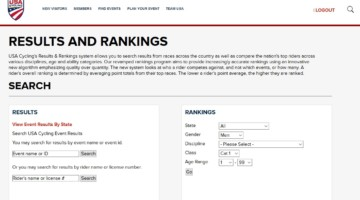 The Results and Rankings page currently points to the legacy USAC website.