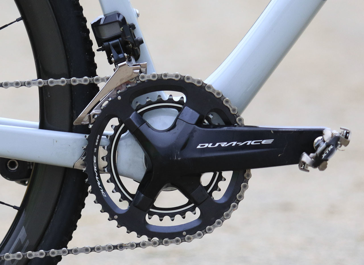 As a Shimano rider, Werner has access to these special, pro-only Dura-Ace chainrings. Kerry Werner's Kona Super Jake Cyclocross Bike, 2018 U.S. World Cups. © D. Mable / Cyclocross Magazine