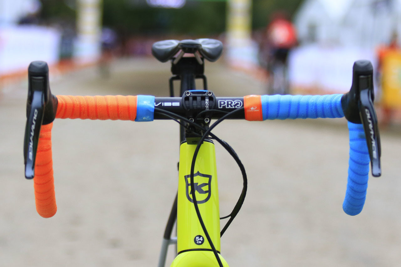 While one of Werner's bikes has this interesting combination of bar tapes, the other is wrapped with blue tape on both sides. Kerry Werner's Kona Super Jake Cyclocross Bike, 2018 U.S. World Cups. © D. Mable / Cyclocross Magazine