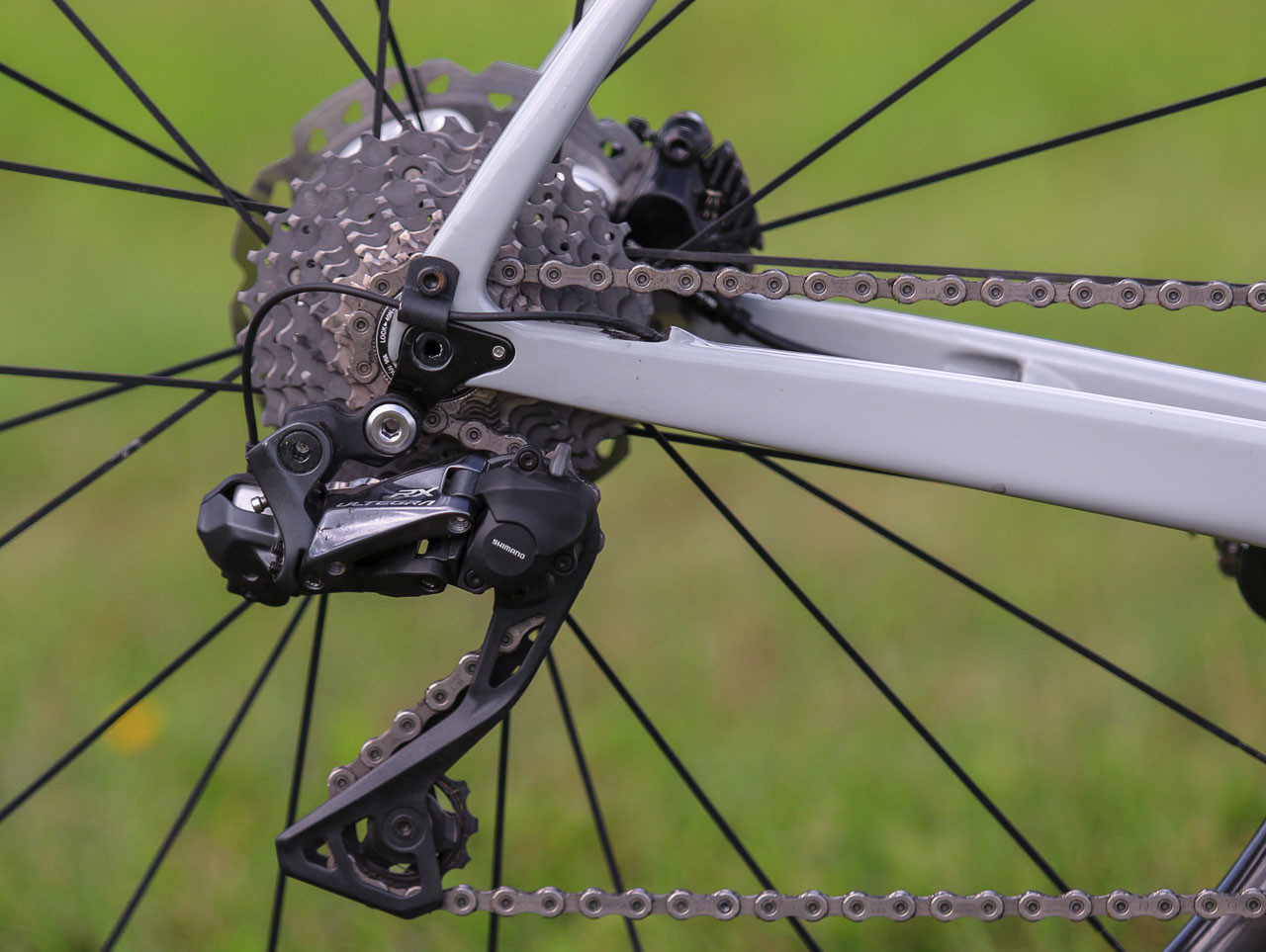 The RX805 rear derailleur uses the same clutch system found in Shimano's mountain bike derailleurs. Kerry Werner's Kona Super Jake Cyclocross Bike, 2018 U.S. World Cups. © D. Mable / Cyclocross Magazine