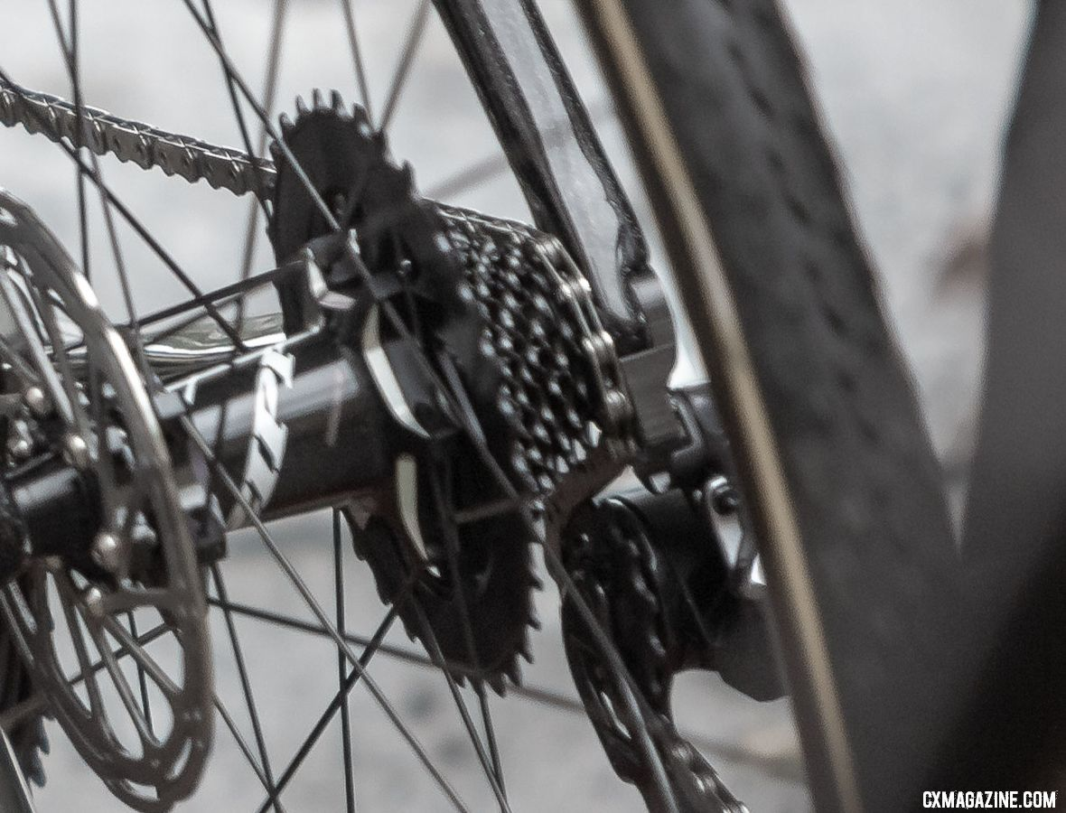 The XDR cassette looks like it uses steel cogs paired with an alloy 36t large cog. Wout van Aert's prototypye SRAM Red eTAP 1x 12-speed drivetrain. © A. Yee / Cyclocross Magazine