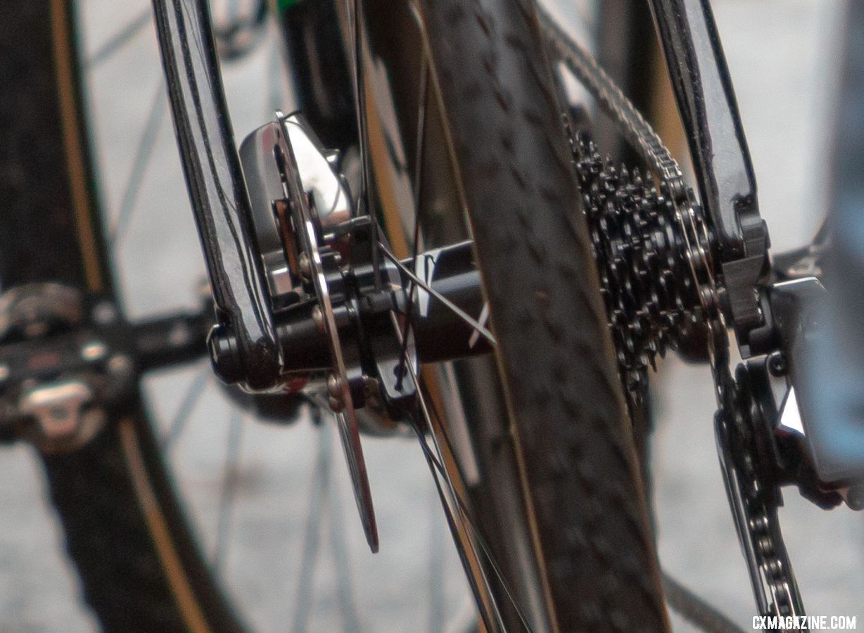 That's a tiny small cog. We're looking at what appears to be a 10-36 XDR cassette. Wout van Aert's prototypye SRAM Red eTap 1x 12-speed drivetrain. © A. Yee / Cyclocross Magazine