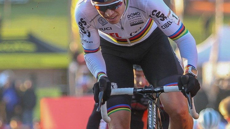 Wout van Aert raced his prototype SRAM Red eTap 1x 12-speed drivetrain at the UCI Cyclocross World Cup in Tabor. © Bart Hazen / Cyclocross Magazine