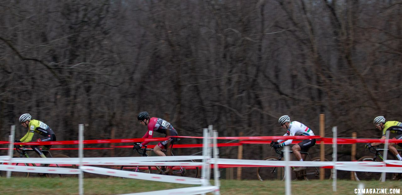 Nick Carter was sandwiched between a Cannondale CyclocrossWorld trio on the first lap. Junior Men 17-18. 2018 Cyclocross National Championships, Louisville, KY. © A. Yee / Cyclocross Magazine