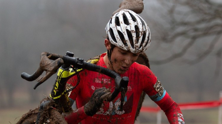 Jared Scott focused on his podium dreams, riding to a fourth place. Junior Men 17-18. 2018 Cyclocross National Championships, Louisville, KY. © A. Yee / Cyclocross Magazine