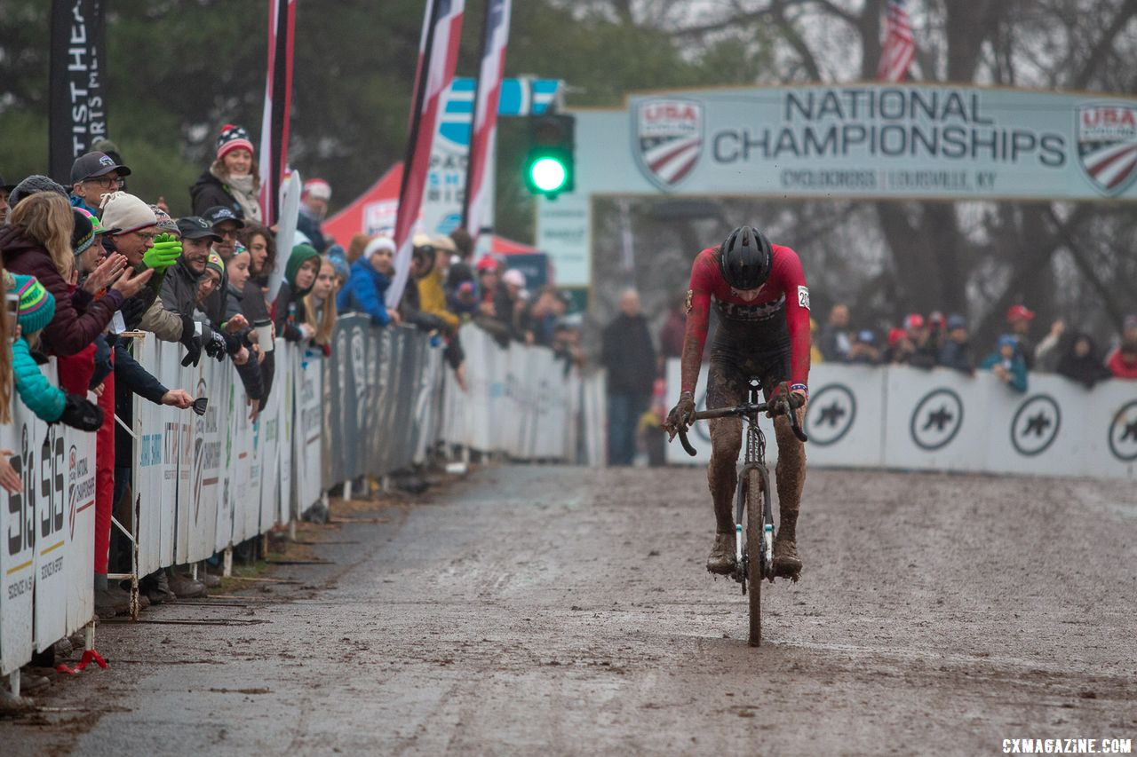 Carter was pleased with his second surge and second place. Junior Men 17-18. 2018 Cyclocross National Championships, Louisville, KY. © A. Yee / Cyclocross Magazine