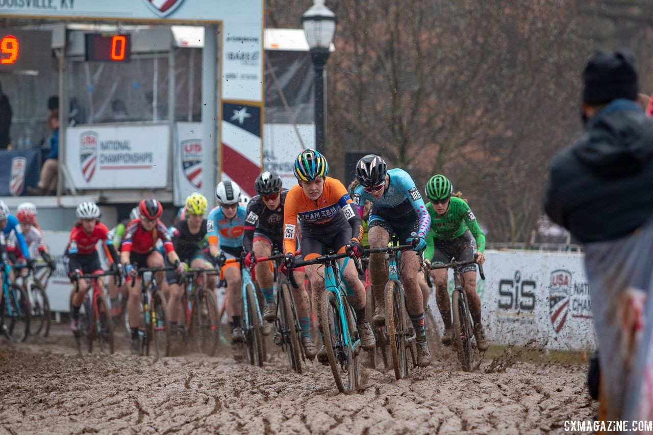 Clara Honsinger took the holeshot on Sunday. U23 Women. 2018 Cyclocross National Championships, Louisville, KY. © A. Yee / Cyclocross Magazine