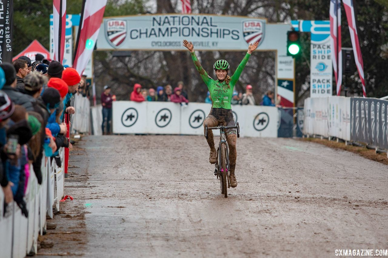 Katie Clouse won the Junior Women 17-18 race for the second straight year. U23 Women. 2018 Cyclocross National Championships, Louisville, KY. © A. Yee / Cyclocross Magazine