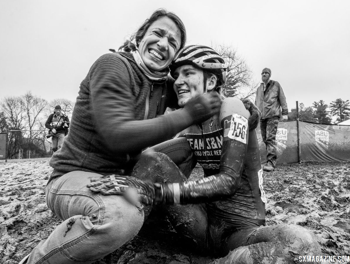 It was a family affair celebrating Sophie Russenberger's bronze in the U23 Nationals race. U23 Women. 2018 Cyclocross National Championships, Louisville, KY. © A. Yee / Cyclocross Magazine